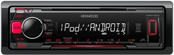 Автомагнитола Kenwood KMM-203 USB MP3 FM 1DIN 4х50Вт черный автомагнитола kenwood kmm 103ry usb mp3 fm rds 1din 4х50вт черный