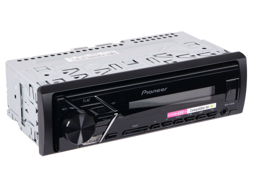 Автомагнитола Pioneer MVH-S100UB USB MP3 FM RDS 1DIN 4x50Вт черный автомагнитола pioneer mvh av190 usb mp3 fm rds 2din 4x50вт черный