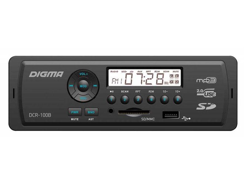 Автомагнитола Digma DCR-100B USB MP3 FM 1DIN 4x45Вт черный автомагнитола digma dcr 300g usb mp3 fm 1din 4x45вт черный