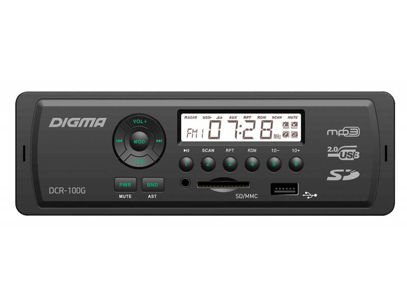 Автомагнитола Digma DCR-100G USB MP3 FM 1DIN 4x45Вт черный автомагнитола kenwood kmm 103ay usb mp3 fm 1din 4х50вт черный