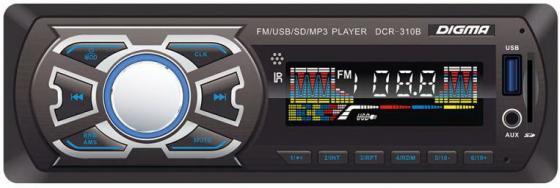 Автомагнитола Digma DCR-310B USB MP3 FM 1DIN 4x45Вт черный автомагнитола digma dcr 300g usb mp3 fm 1din 4x45вт черный