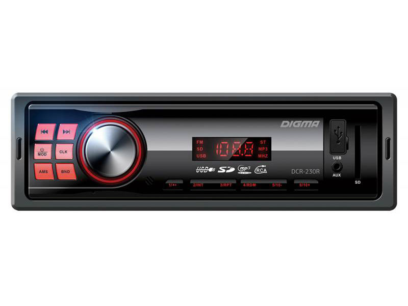 Автомагнитола Digma DCR-230R USB MP3 FM 1DIN 4x45Вт черный автомагнитола digma dcr 300b usb mp3 fm 1din 4x45вт черный