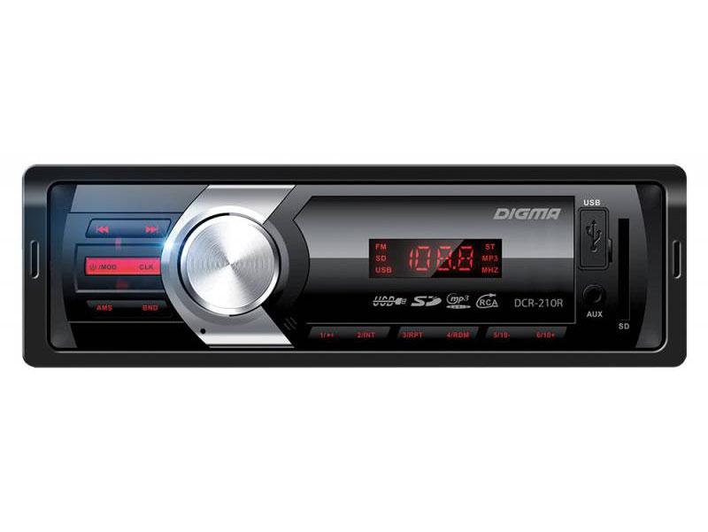 Автомагнитола Digma DCR-210R USB MP3 FM 1DIN 4x45Вт черный автомагнитола digma dcr 300g usb mp3 fm 1din 4x45вт черный