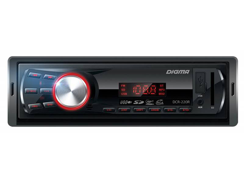Автомагнитола Digma DCR-220R USB MP3 FM 1DIN 4x45Вт черный автомагнитола digma dcr 220r 1din 4x45вт