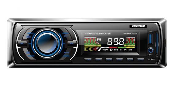 Автомагнитола Digma DCR-320B USB MP3 FM 1DIN 4x45Вт черный автомагнитола kenwood kmm 103ay usb mp3 fm 1din 4х50вт черный