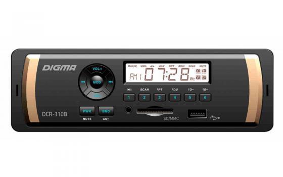Автомагнитола Digma DCR-110B24 USB MP3 FM 1DIN 4x45Вт черный автомагнитола digma dcr 300b 1din 4x45вт
