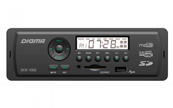 Автомагнитола Digma DCR-100G24 USB MP3 FM 1DIN 4x45Вт черный автомагнитола 12 24 bluetooth mp3 fm usb