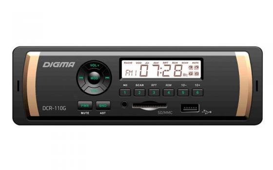 Автомагнитола Digma DCR-110G24 USB MP3 FM 1DIN 4x45Вт черный автомагнитола digma dcr 300b 1din 4x45вт