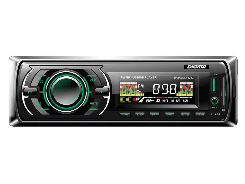 Автомагнитола Digma DCR-330G USB MP3 FM 1DIN 4x45Вт черный адаптер переходник кратон 30103011