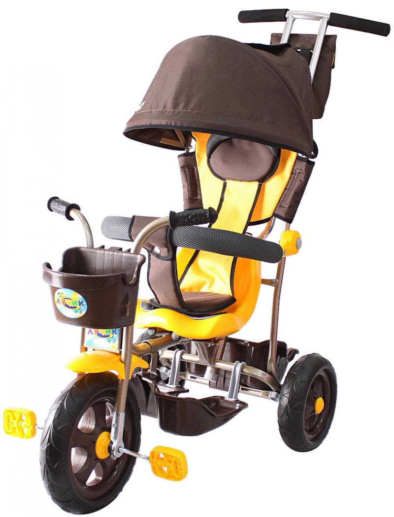 Велосипед трехколёсный Rich Toys Galaxy Лучик с капюшоном 5391/Л001 коричнево-желтый