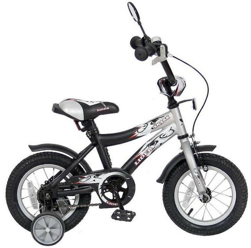 Велосипед двухколёсный Velolider LIDER SHARK 12 12A-1287GR серый/черный велосипед velolider rush army 18 ra18 хаки