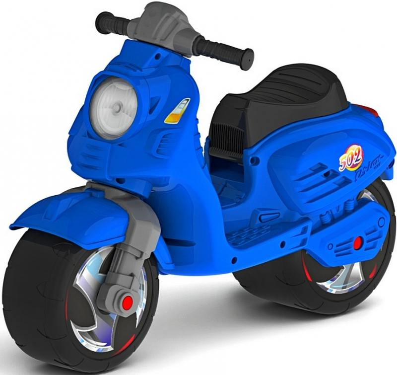 Каталка-мотоцикл двухколёсный RT Скутер синий ОР502 беговел rt ор502 red
