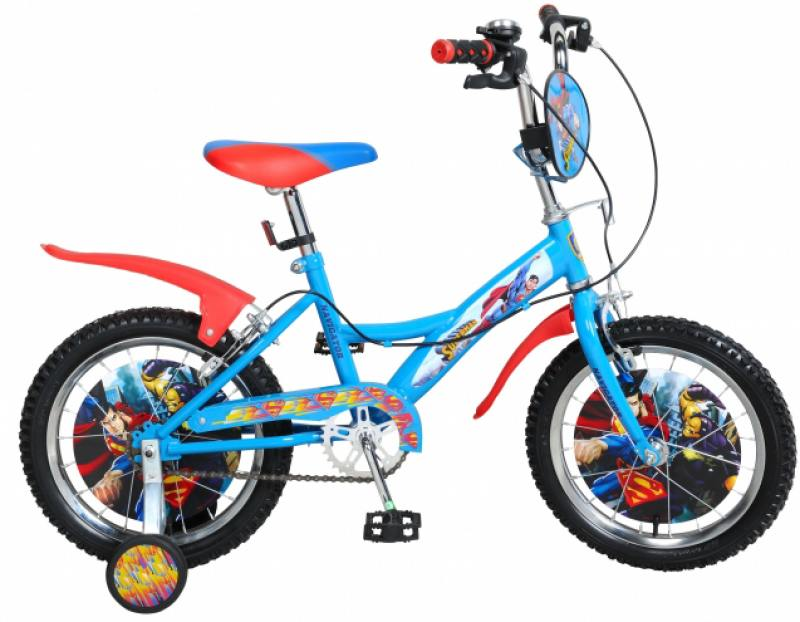 "Велосипед двухколёсный Navigator Супермен 16"" KITE-тип,страховочн.кол.со стик.,щиток на руле"