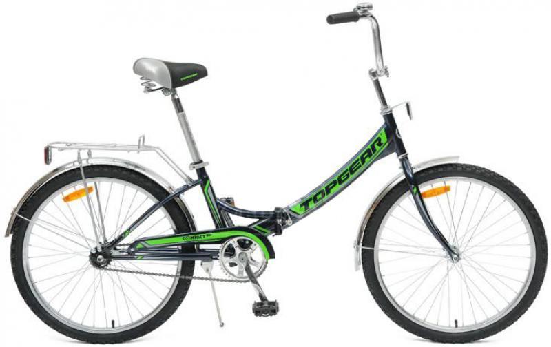 Велосипед Top Gear Compact 50 диаметр колес: 24 дюймов, размер рамы: 14 дюймов, складной, черный/зеленый, ВНС2482 велосипед горный top gear parcours 210 диаметр колес 20 размер рамы 14 6 скоростей черный желтый вн20063