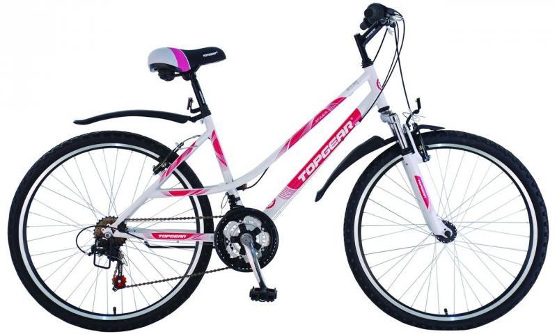 Велосипед горный Top Gear Style 210 диаметр колес: 26 дюймов, размер рамы: 16 дюймов, белый/розовый, ВН26354