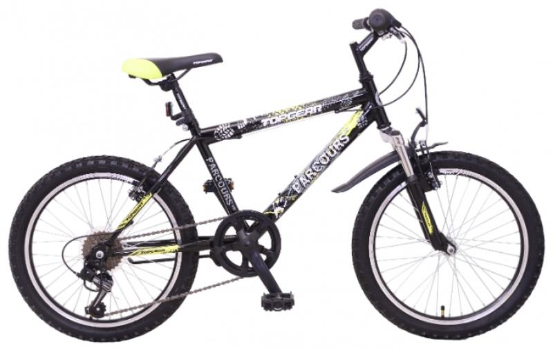 Купить Велосипед горный Top Gear Parcours 210 диаметр колес: 20 , размер рамы: 14 , 6 скоростей, черный/желтый, ВМЗ20063, Велосипеды и беговелы