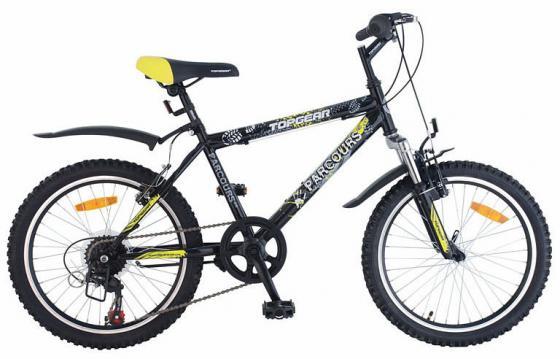 Купить Велосипед горный Top Gear Parcours 210 диаметр колес: 20 , размер рамы: 14 , 6 скоростей, черный/желтый, ВН20063, Велосипеды и беговелы