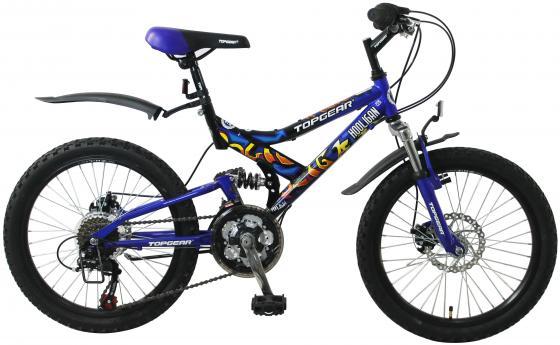 Купить Велосипед горный Top Gear Hooligan 225 диаметр колес: 20 , размер рамы: 14 , 18 скоростей, черный/синий, ВН20038, Велосипеды и беговелы