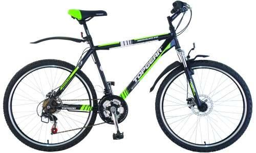 Велосипед горный Top Gear Adrenaline 215 диаметр колес: 26, размер рамы: 20, 18 скоростей, черный/зеленый, ВН26353Н