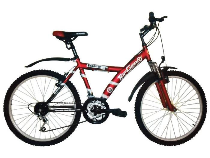 Велосипед Top Gear Unlimited 110 диаметр колес: 24 дюйма, размер рамы: 16.5 дюймов, 18 скоростей, красный/черный, ВН24027Н