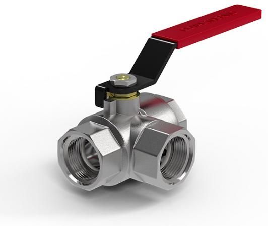 Кран шаровый Royal Thermo OPTIMAL трехходовой тип L 1/2 комплект royal thermo коаксиальный утепленный d60 100l pr