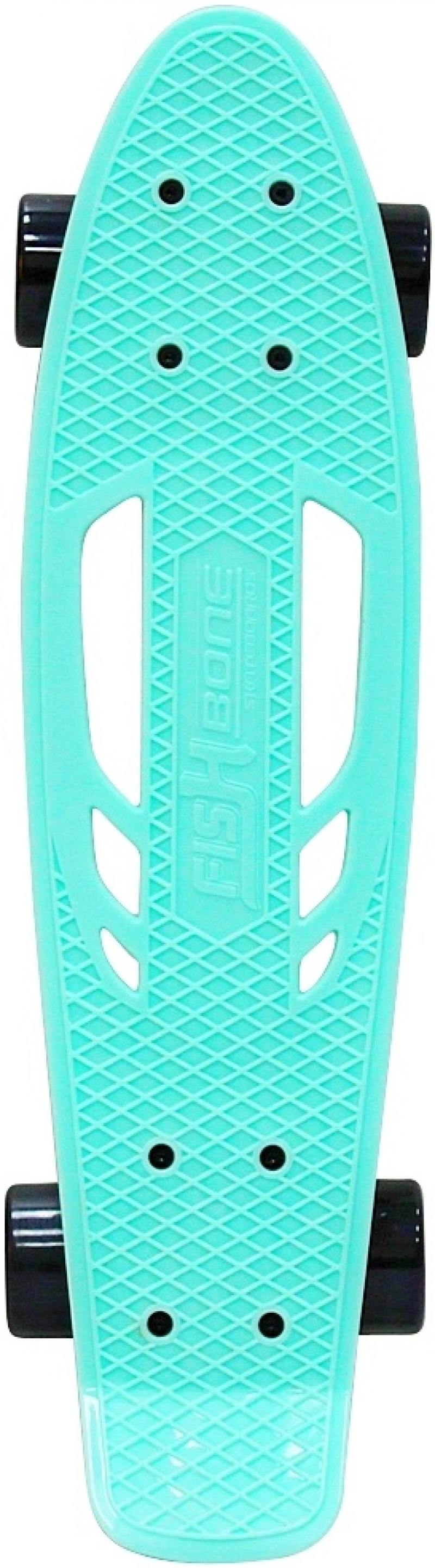 Скейтборд Y-SCOO Skateboard Fishbone с ручкой 22 RT винил 56,6х15 с сумкой AQUA/black 405-A rt 405 a скейтборд skateboard fishbone с ручкой 22 винил 56 6х15 с сумкой aqua black