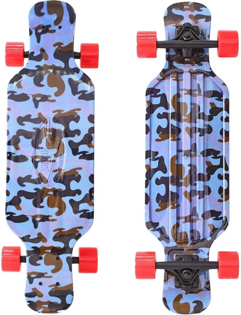 Скейтборд Y-SCOO Longboard Shark TIR 31 RT пластик 79х22 с сумкой Blue Army BLUE/red 408-Ba