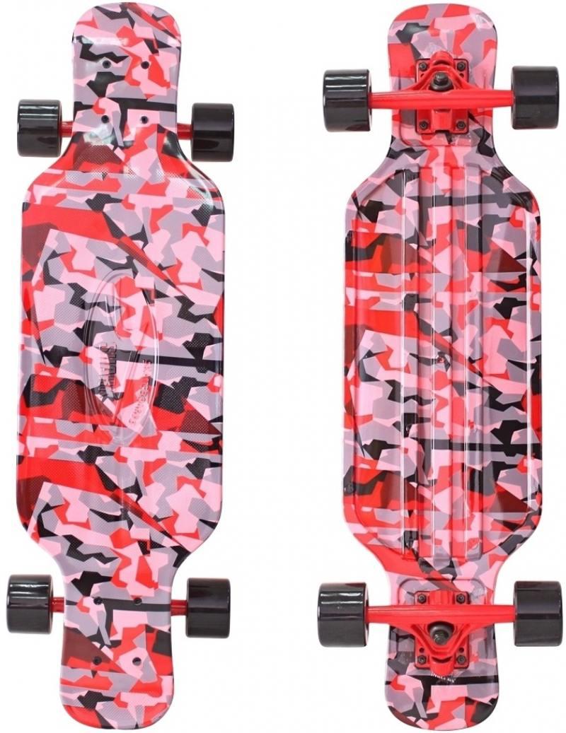 Скейтборд Y-SCOO Longboard Shark TIR 31 RT пластик 79х22 с сумкой CHAOS RED/black 408-Ch