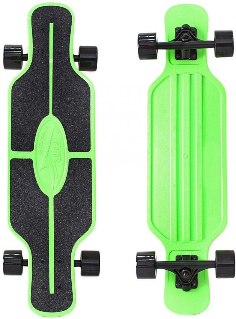Скейтборд Y-SCOO Longboard Shark TIR 31 RT пластик 79х22  сумкой GREEN/black 408-