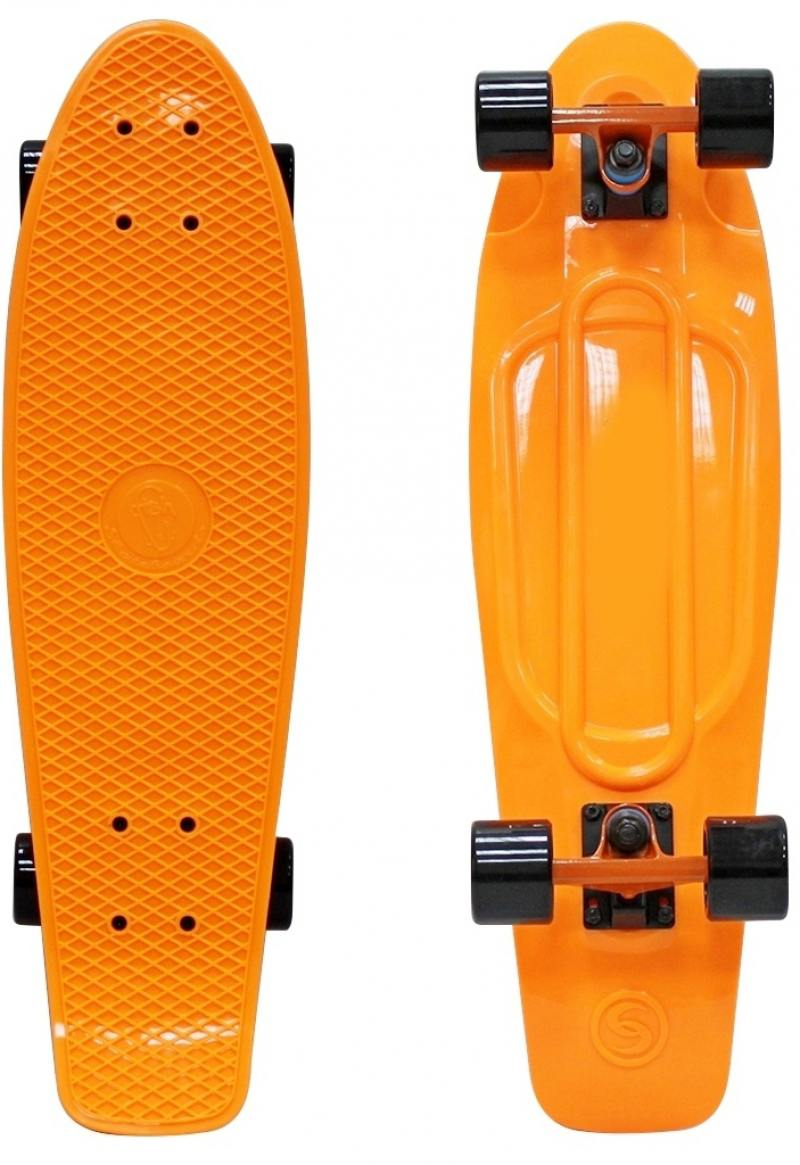 "Скейтборд Y-SCOO Big Fishskateboard 27"" RT винил 68,6х19 с сумкой ORANGE/black 402-O"