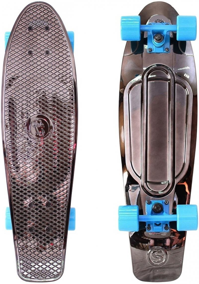 "Скейтборд Y-SCOO Big Fishskateboard metallic 27"" RT винил 68,6х19 с сумкой BLACK BRONZAT/blue 402H-B"