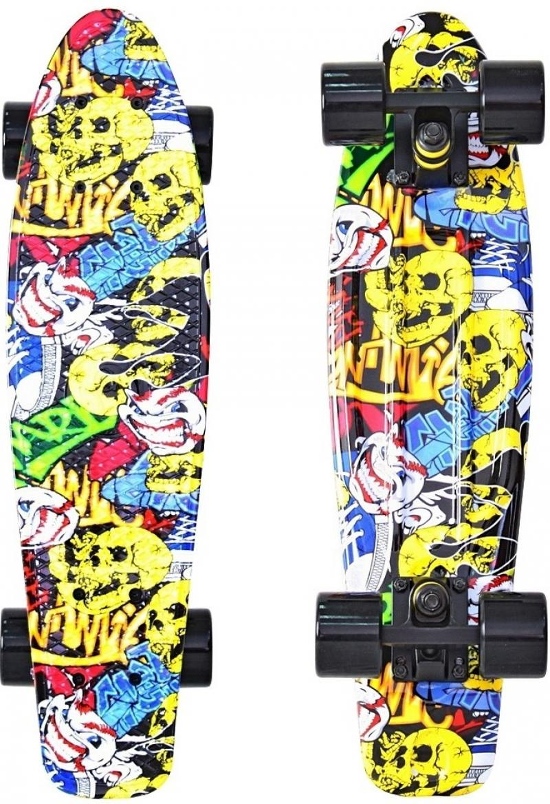 Скейтборд Y-SCOO Fishskateboard Print 22 RT винил 56,6х15 с сумкой Cartoon 401G-C stylish cartoon print slim overcoat