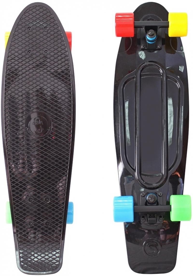 "Скейтборд Y-SCOO Big Fishskateboard Print 27"" RT винил 68,6х19 с сумкой BLACK/4-blue,yellow,green,re"