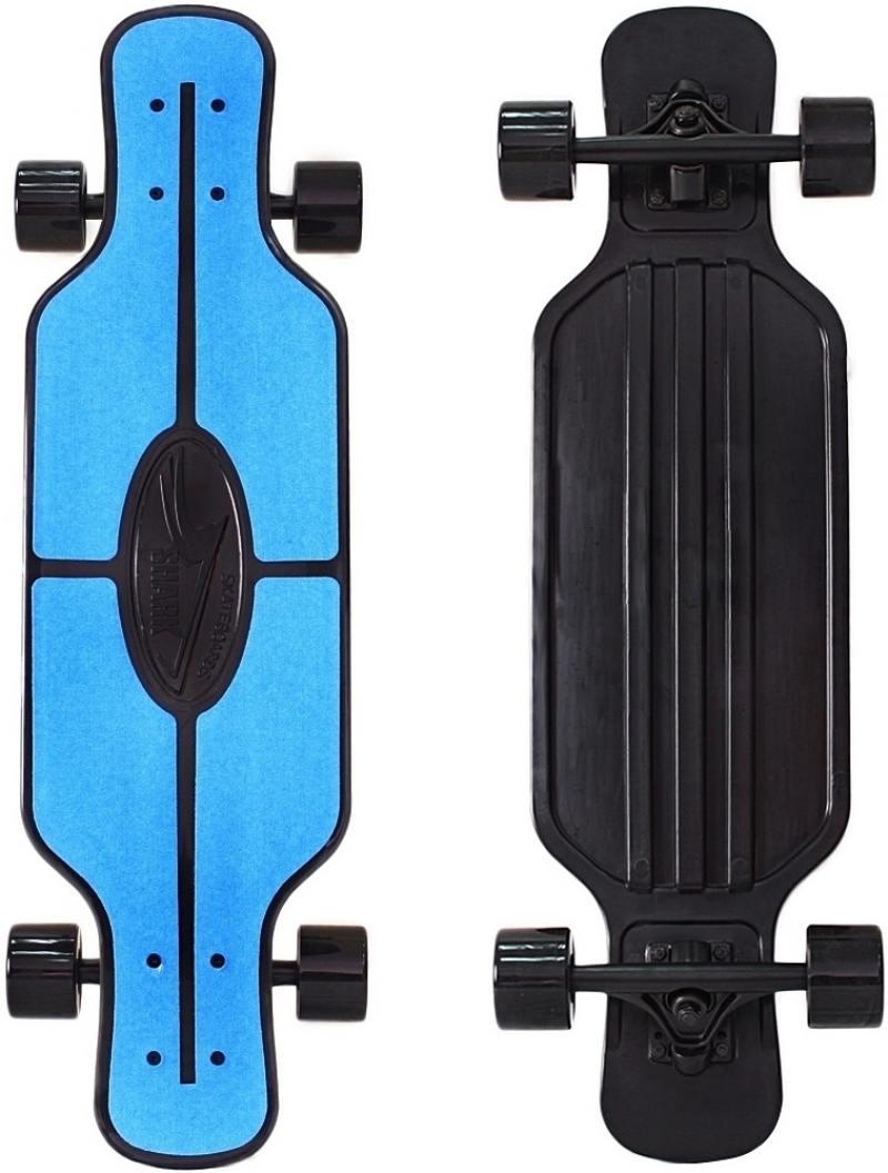 Скейтборд Y-SCOO Longboard Shark TIR 31 RT пластик 79х22  сумкой BLUE/black 408-