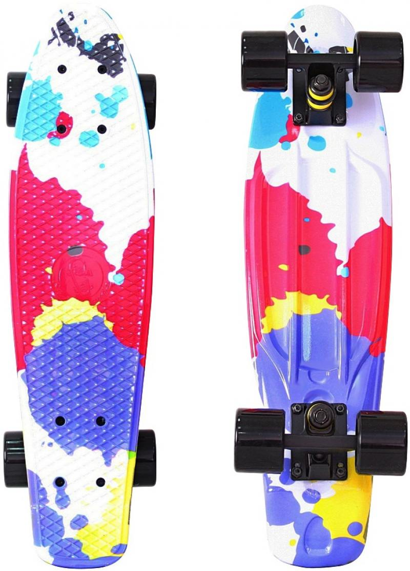 "Скейтборд Y-SCOO Fishskateboard Print 22"" RT винил 56,6х15 с сумкой Splatter 401G-Sp"