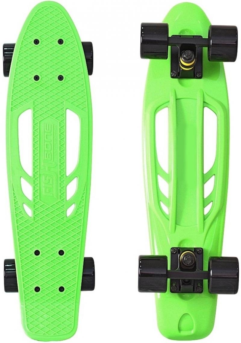Скейтборд Y-SCOO Skateboard Fishbone с ручкой 22 RT винил 56,6х15 с сумкой GREEN/black 405-G rt 405 a скейтборд skateboard fishbone с ручкой 22 винил 56 6х15 с сумкой aqua black