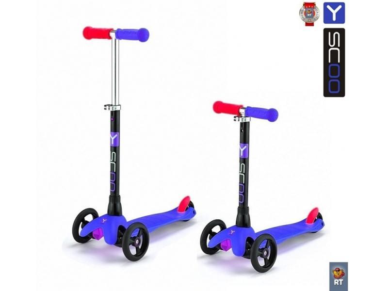 Самокат трехколёсный Y-SCOO mini Glam RT dark blue синий от OLDI