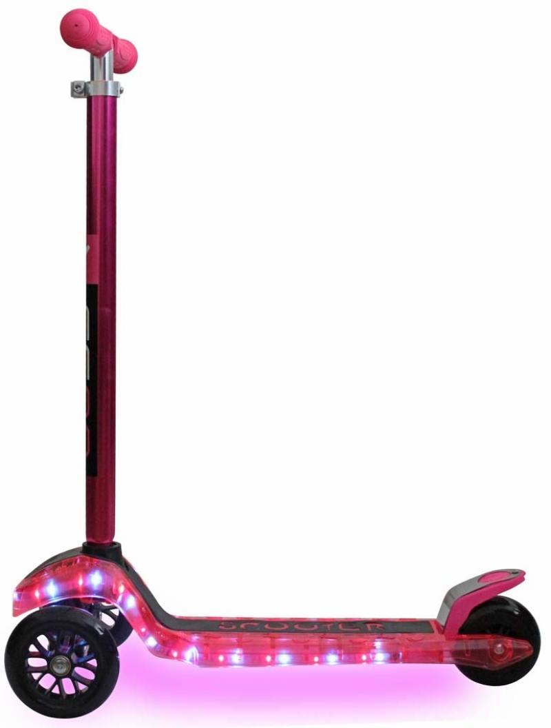 Самокат трехколёсный Y-SCOO MAXI Laser Show розовый от OLDI
