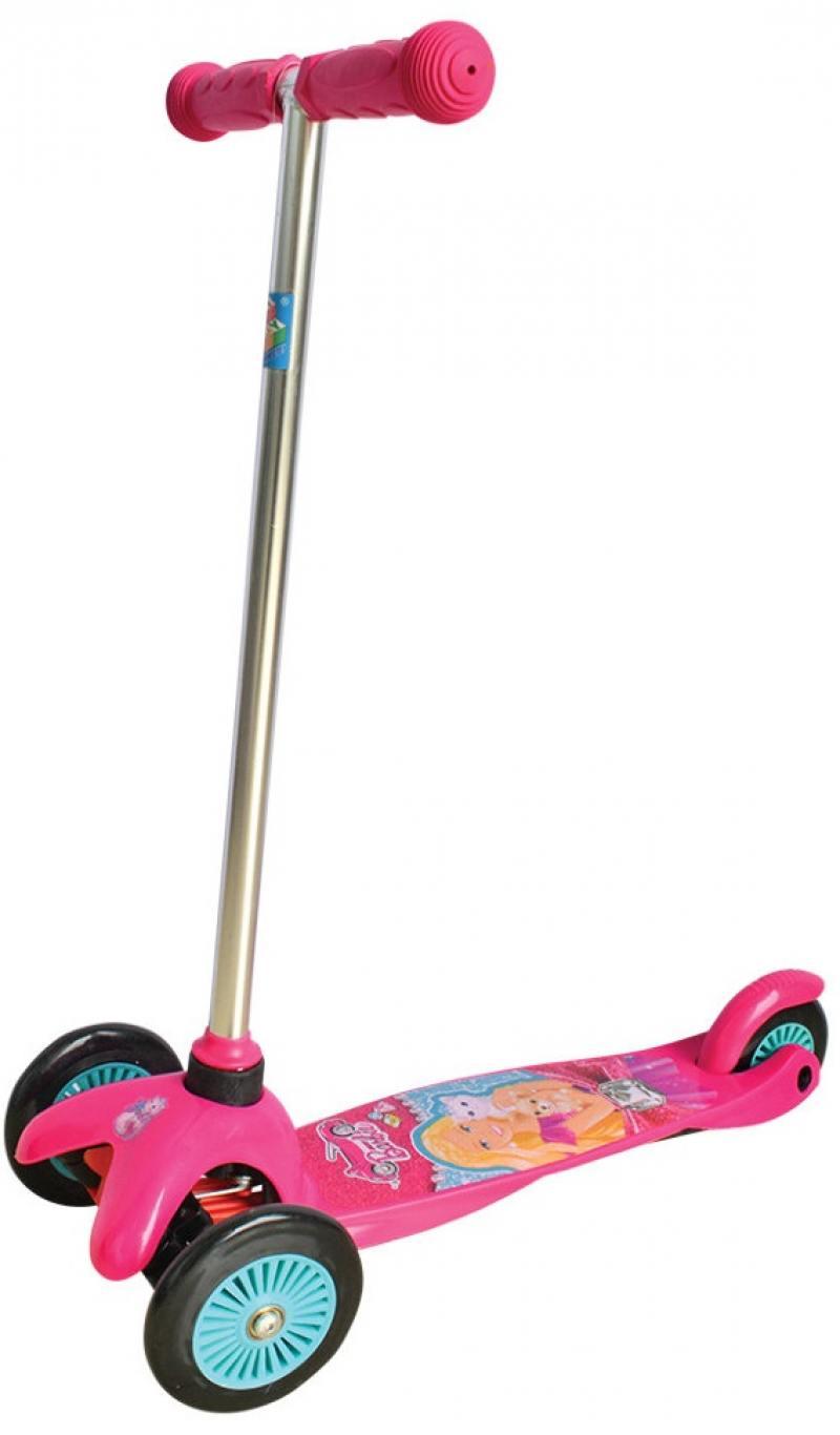 Самокат трехколёсный 1TOY Barbie розовый Т57618 самокат трехколёсный 1toy свинка пеппа 5 4 розовый