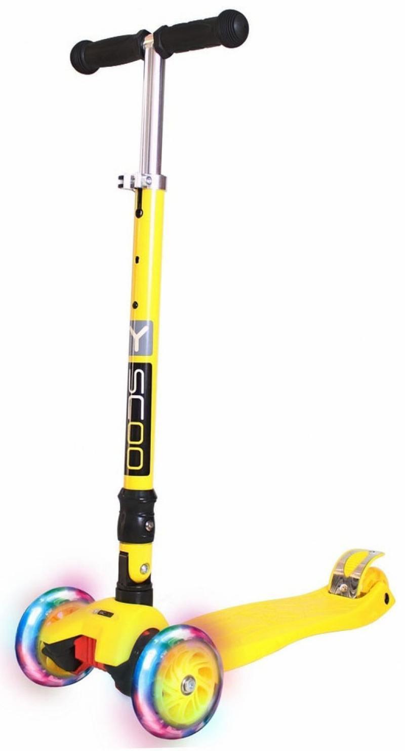 Самокат трехколесный Y-SCOO 35 MAXI FIX Shine yellow со светящимися колесами