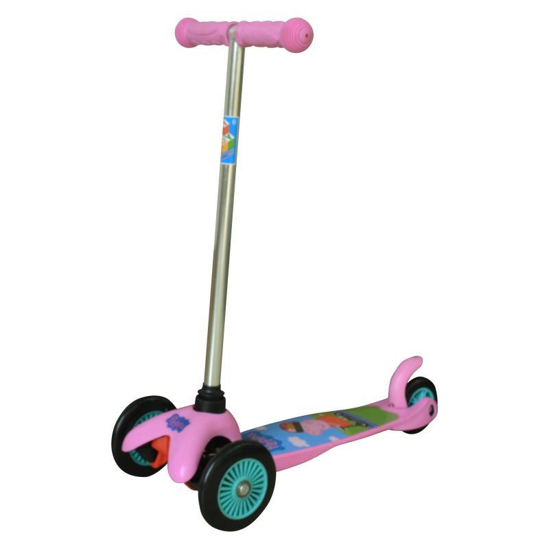 Самокат трехколёсный 1TOY Peppa, управляется наклоном розовый 8887856576178 1toy самокат spider man
