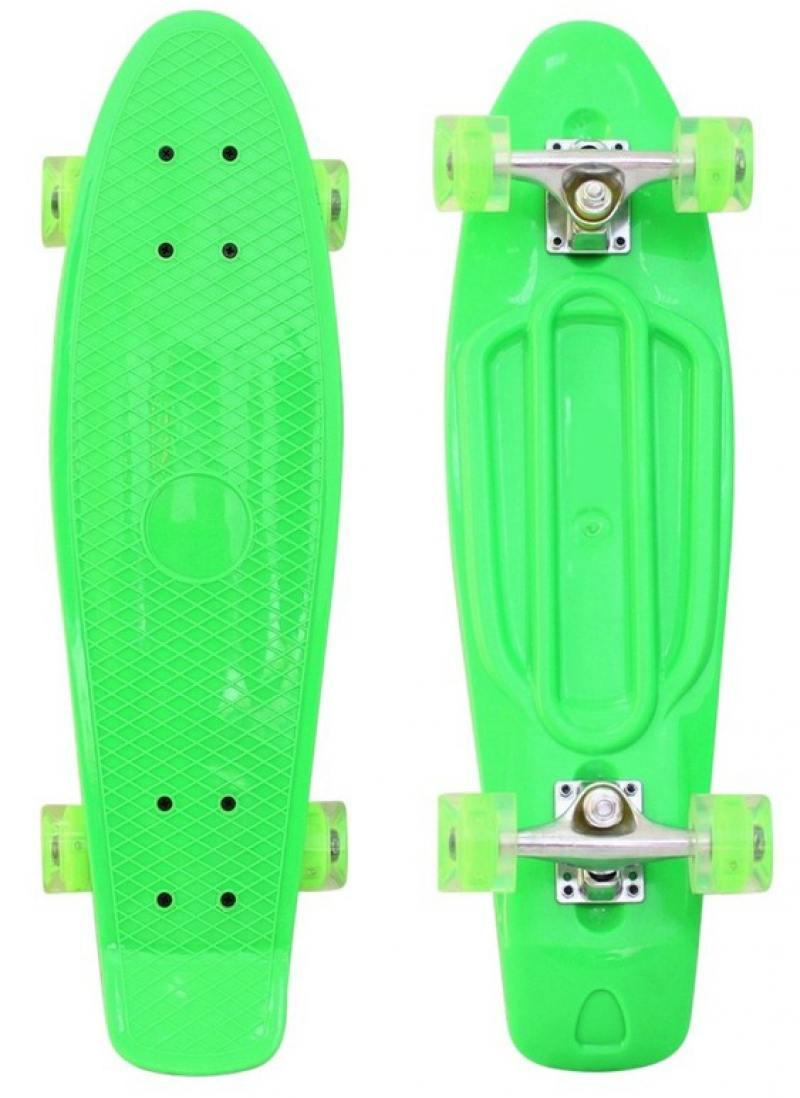 Скейтборд RT Classic 22 56x15 YQHJ-11 пластик со светящимися колесами цвет зеленый 171202 ледянка rt 2 пластик зеленый