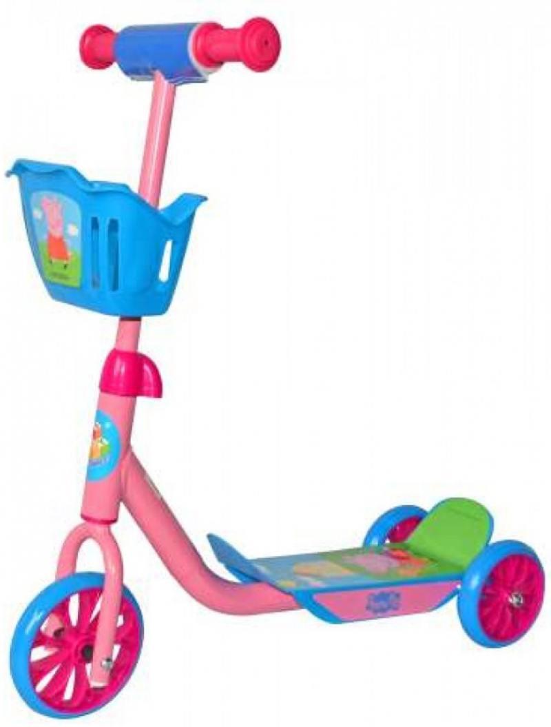 Самокат трехколёсный 1TOY Peppa, ПВХ 6/5, корзина самокат трехколёсный 1toy свинка пеппа 5 4 розовый