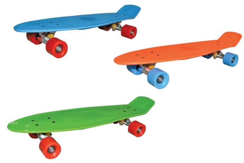 Скейт Navigator пласт.,кол.ПВХ 57х42мм без света, втулки ПВХ, алюм.траки, 68х20х9,5см, 3 цв. оранж, скейт navigator т59495