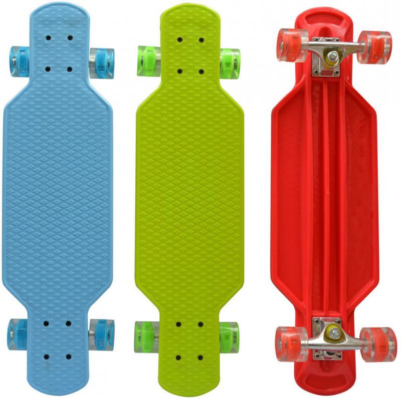 Скейт Navigator пласт.,кол.PU 57х44мм свет, втулки PU, алюм.траки,73х20х9,5см, красн,син,зел. скейт navigator т59495