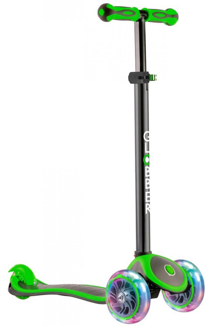 Самокат трехколёсный Y-SCOO GLOBBER PRIMO PLUS TITANIUM с 3 светящимися колесами Neon Green 442-136 цена 2017