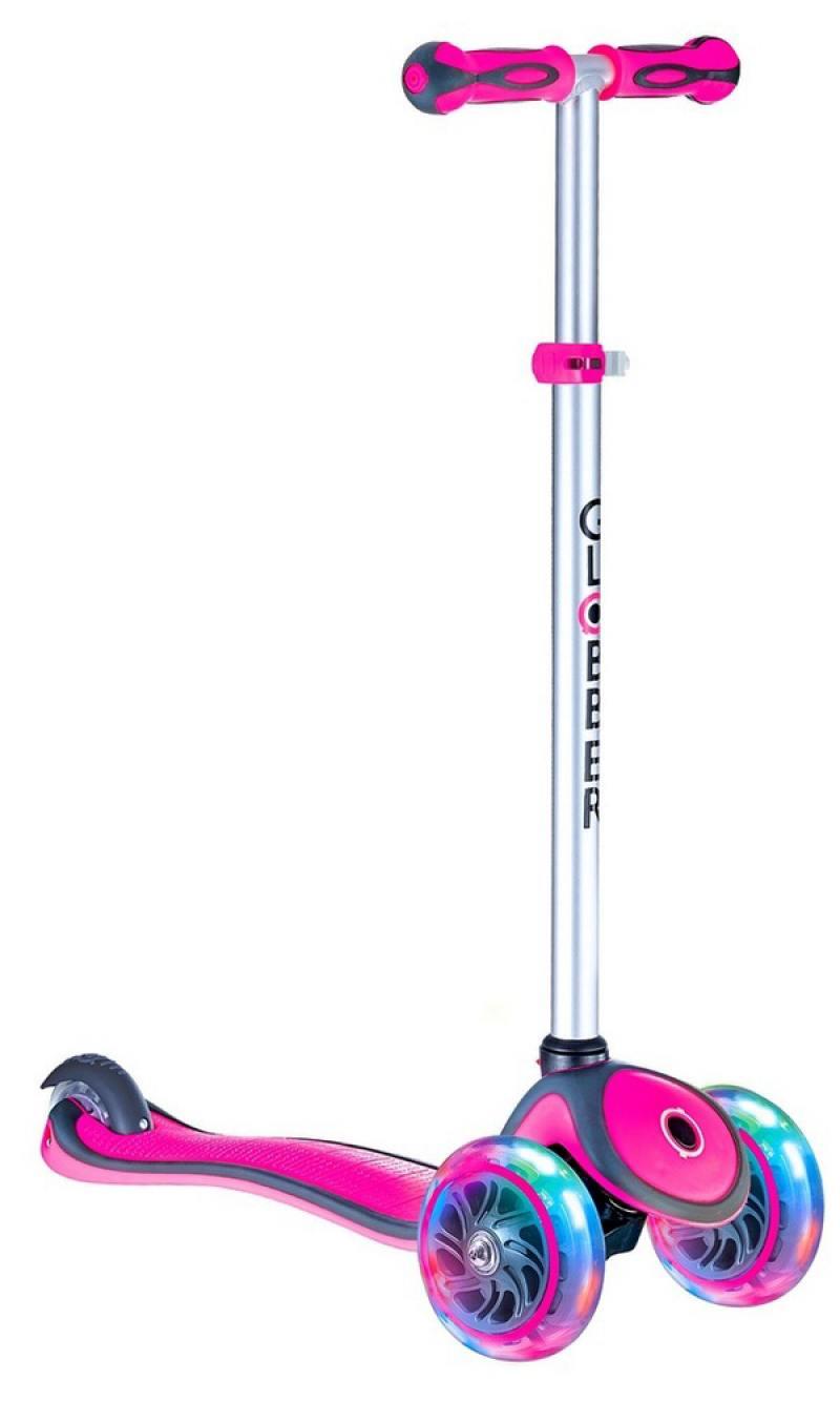 Самокат трехколёсный Y-SCOO GLOBBER PRIMO PLUS с 3 светящимися колесами Pink 442-110 самокат трехколёсный y scoo globber primo plus titanium с 3 светящимися колесами neon green 442 136