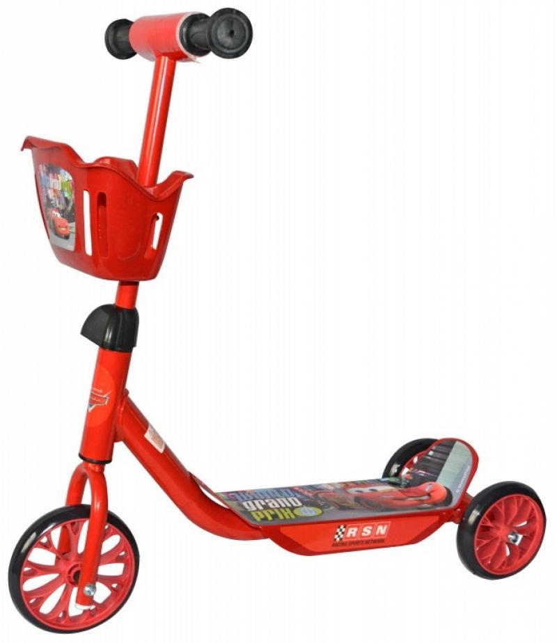 Самокат трехколёсный 1TOY Disney Тачки 3-хкол. ПВХ 6/5, корзина 1toy 1toy детский велосипед disney тачки желтый 18 диаметр желтый