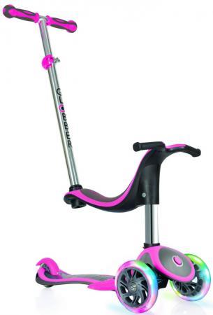 Самокат трехколёсный Globber EVO 4 in 1 PLUS 4*/3* розовый globber globber самокат с сиденьем evo 4 в 1 plus c подножками и 3 светящимися колесами голубой