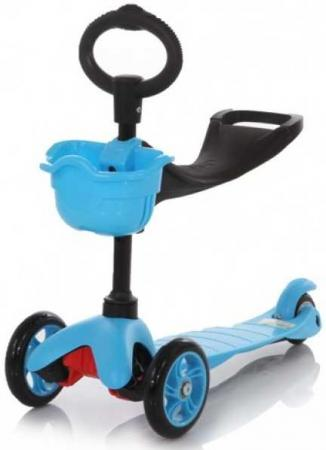 21st scooTer, Самокат 3-х колёсный с сиденьем Maxi Scooter SKL-06B Синий (Blue) leshp 200mm folding height adjustable foot scooter two rounds wheels outdoor double damping push adult kick scooter from russia